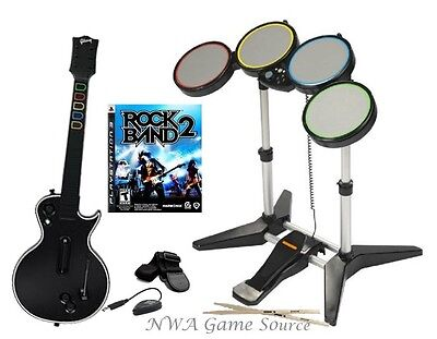 PS3 Rock Band 2 Bundle ~ RB Wired Drums + Wireless Guitar Hero Les Paul Guitar