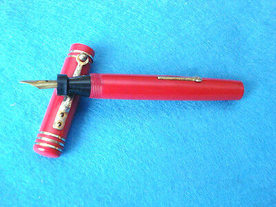 Beautiful Unnamed  Large Red Fountain Pen With Warrented Gold Plate  Nib