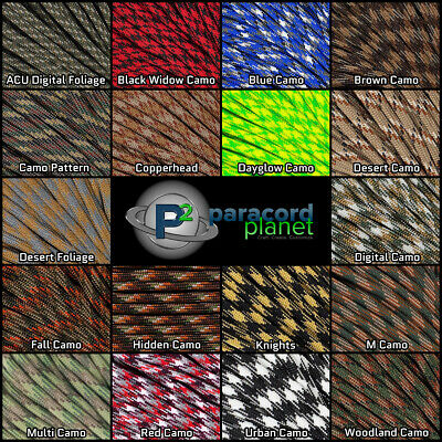 550 Paracord Camo Mil-Spec Type III 7 Strand 10ft 20ft 50ft 100ft Parachute Cord