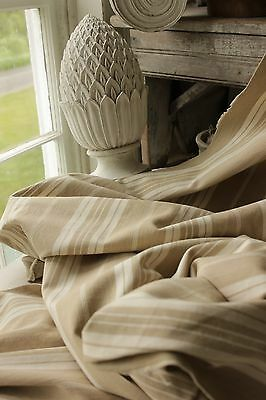 Antique French beige tan ticking fabric material heavy weight upholstery cloth