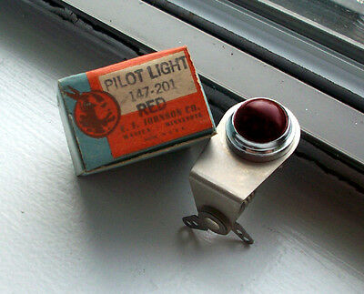 "Vintage RED dash gauge panel light Hot Rod  3/4"" rare dead stock JOHNSON Glass 1"