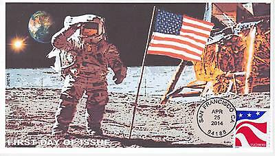 Jvc Cachets -2014 Red White & Blue First Day Covers Fdc Topical 1St Moon Landing