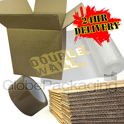 """20 x STRONG DOUBLE WALL Removal Moving Packing Boxes 12x12x12"""" + BUBBLE + TAPE"""