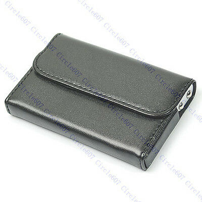 Pocket Black Leather Name Business Card Case Holder