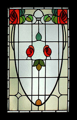 Art Nouveau Mackintosh Rose Rare English Antique Stained Glass Window