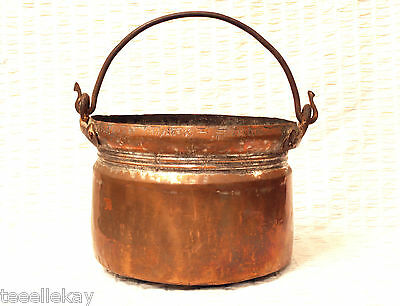 LARGE Antique COPPER Pot CAULDRON w IRON Handle, Hand Forged TIN LINED