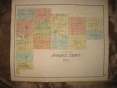 Antique 1898 Auglaize County Ohio Map Wapakoneta Saint Marys Minster New Bremen
