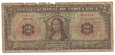 "Banknote COSTA RICA    2 Colones TWO 1931  ""Mona Lisa"" note P  167   RRR"