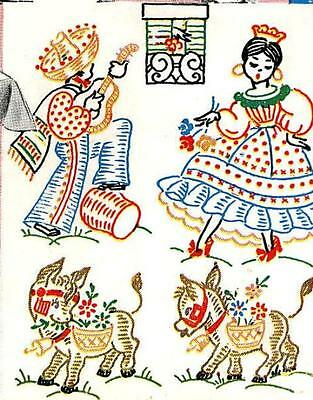 Vintage Hand Embroidery 133 Mexican Motifs for Aprons Towels Cloths Burro Cactus