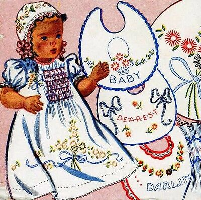 Vintage Hand Embroidery 111 Dainty Flowers Borders for Baby Infant clothing 50s