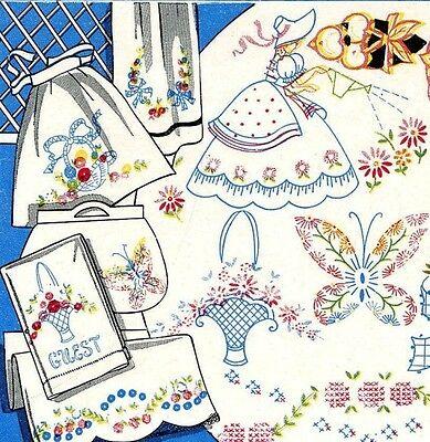 Vintage Embroidery 110 Crinoline Lady Butterfly Bows Flowers Scarf Vanity Case