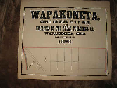 Fine Set Of 6 Large Antique 1898 Wapakoneta Auglaize County Ohio Map Superb Nr