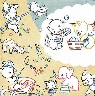 Vintage Embroidery Transfer repo 119 Puppies in Love for Kitchen Tea Towels 40s