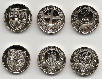 One Pound Coin £1 Cities Shield Floral 12 Sided 2010 - 2020 Uncirculated