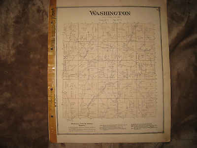 ANTIQUE 1870 WASHINGTON TOWNSHIP GUERNSEY COUNTY OHIO HANDCOLORED MAP RARE NR