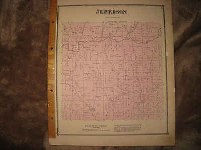 Antique 1870 Jefferson Township Guernsey County Ohio Handcolored Map Rare Nr