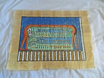 """Egyptian Papyrus Painting Creation Goddess Nut High Quality 13X17"""""""