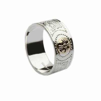 Irish Celtic Ardagh Chalice Band Shield Silver Mens Ring w/ 14k Gold Shield