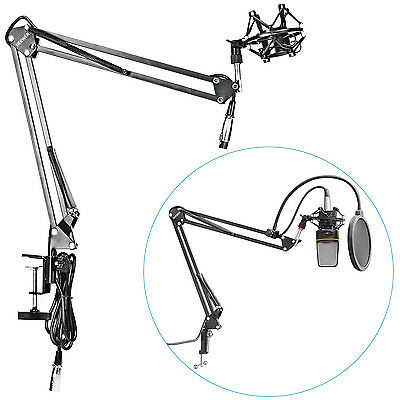 Neeweer Mic Suspension Boom Scissor Arm Stand w/ Shock Mount for Broadcast