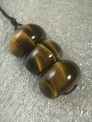 TIGER EYE 3 pc Pendant.Gem grade locally made set on cotton cord.Free AU post