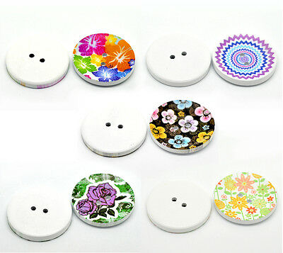 """100PCs Mixed 2 Holes Wood Painting Sewing Buttons Scrapbooking 40mm(1 5/8"""") Dia."""