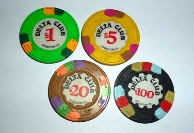 Poker Chips from Stockton, CA Delta Club Card Room $1 $5 $20 $100 Casino Chips