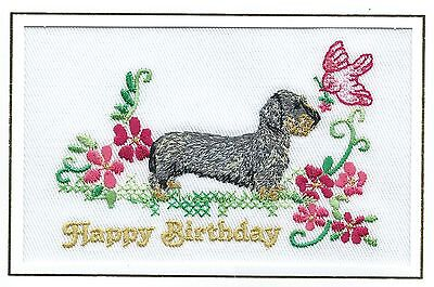 Dachshund Wire Haired Birthday Card or Notecard Embroidered by Dogmania
