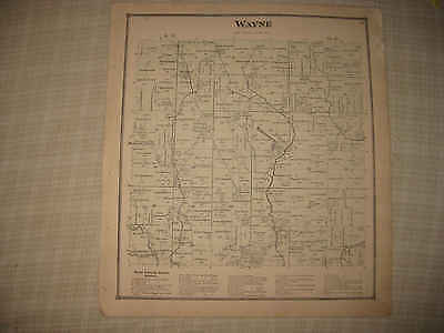 Antique 1873 Wayne Township Madisonburg Wayne County Ohio Handcolored Map Nr