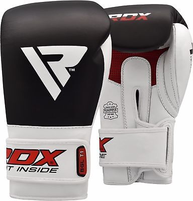 Auth RDX Leather Gel Boxing Gloves Fight Punch Bag MMA Muay Thai Grappling Pad A