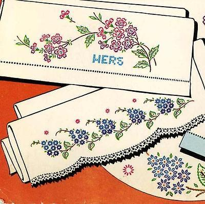 Vintage Embroidery Transfer 667 Florals Flowers for Pillow Cases Guest Towels