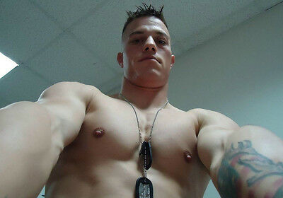 Shirtless Male Beefcake Muscular Military Hunk Chest Close Up PHOTO ...