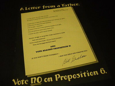 BILL GRAHAM is a father 1978 Promo Display Ad San Francisco VOTE NO ON PROP 6