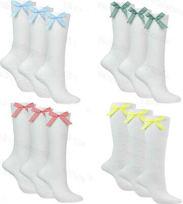3 Pairs Girls Ladies White Knee High School Socks With Gingham Check Satin Bow