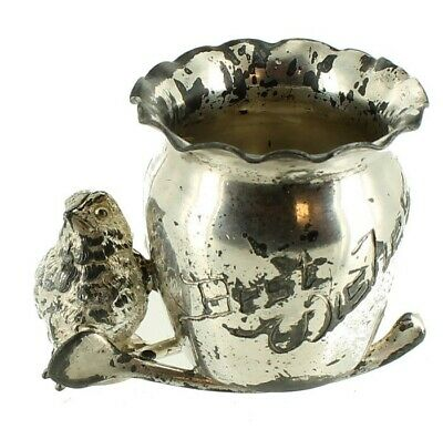Antique Figural Derby Silver Plate Best Wishes Chick Wishbone Toothpick Holder