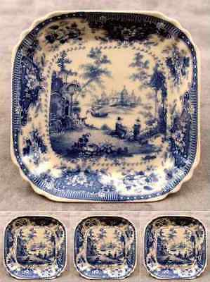 4 PORCELAIN BLUE & CREAM VICTORIAN TOILE TRANSFERWARE DINNER ROLL BREAD PLATES