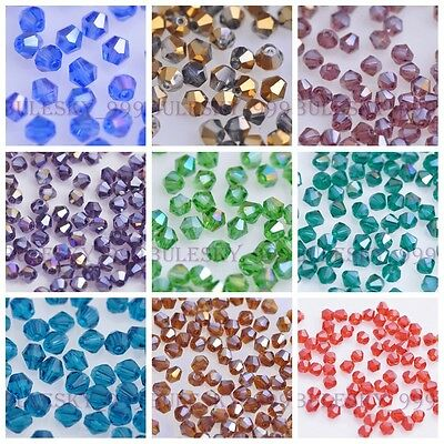 200pcs 4mm Faceted Crystal Glass Bicone Loose Spacer Beads Charms Findings Lot