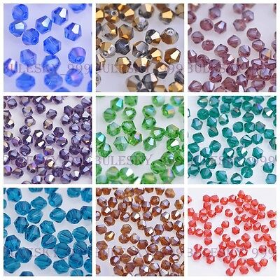 200pcs Faceted Glass Crystal Bicone Loose Spacer Beads 58 Color U Pick 4mm