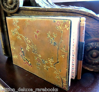 ART NOUVEAU BINDING Beautiful Deco Leather ANTIQUE BUTTERFLY Phone TELEPHONE vtg