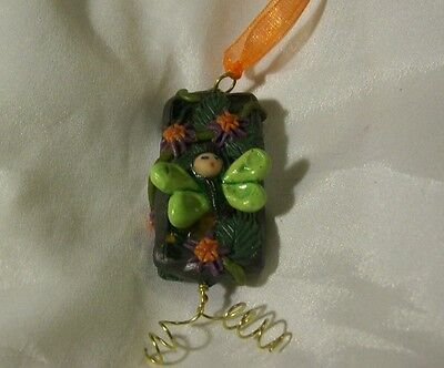 MOTH FAIRY BUTTERFLY WINDOW ORNAMENT ooak whimsical hand sculpted mini polymer