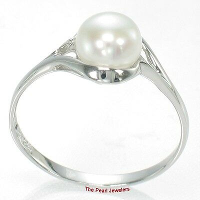 Solid Sterling Silver 925 White Freshwater Cultured Pearl Solitaire Ring - TPJ