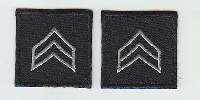 """2 Police//Sheriff SGT Sergeant Chevron SILVER on BLACK collar/lapel patches 1.5"""""""