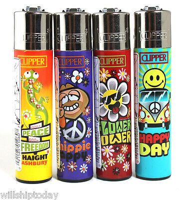 Clipper Lighters Hippie 4 Pack