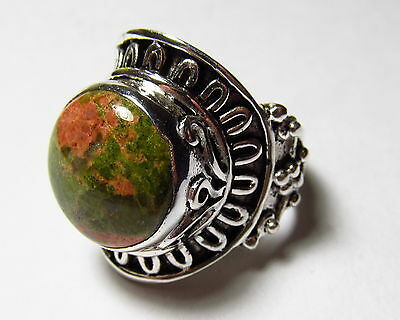 Eye-Catching Genuine Unakite Solitaire Sterling Silver Ring Size 10.25   UNAR73