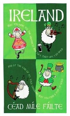 Ireland Irish Cartoon Dancing Sheep Tea Towel Souvenir Gift Green Cotton Elgate