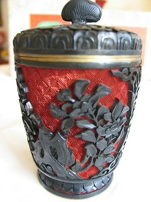 Arved Black Chinese Antique Vintage Cinnabar Lacquer Cylindrical Trinket Box
