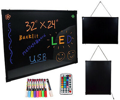 "32""x24"" Flashing Illuminated Erasable Neon LED Message Menu Sign Writing Board"