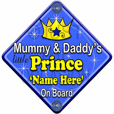 NEW   SWIRL MUMMY & DADDY'S PRINCE   Personalised Baby on Board Car Window Sign