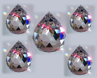 Suncatcher Hanging Crystal Drops Feng Shui Rainbow Prism Sparkling 40mm Ball x5