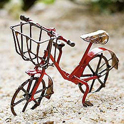 Dollhouse Miniature Fairy Garden Metal Bicycle Bike, RED