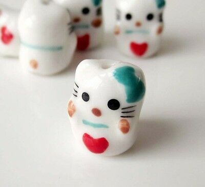 4Pcs Hand Painted Ceramics Porcelain Cat Beads Finding---Jewelry Accessory